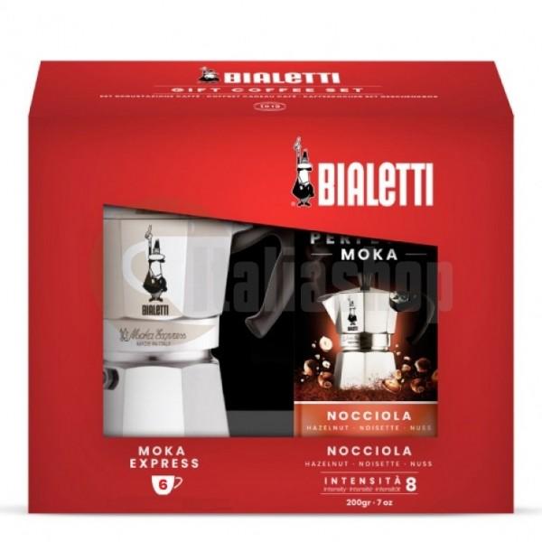 Bialetti Set de Crăciun Moka Express și Cafea Măcinată Hazelnut Bialetti Perfetto