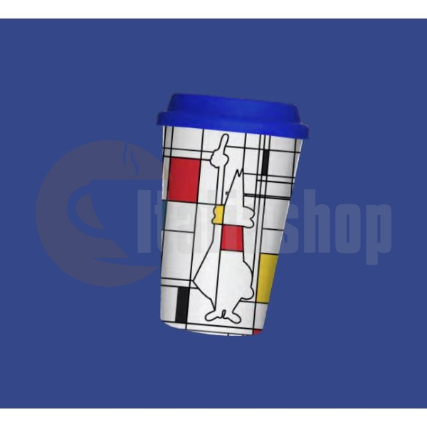 Cana de portelan Bialetti Mondrian cu capac din silicon