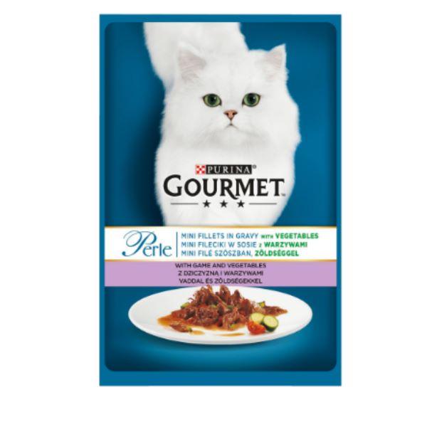 Hrana Pentru Pisici Gourmet® Perle Mini Fileuri In Sos Cu Vanat Si Legume 85Gr.