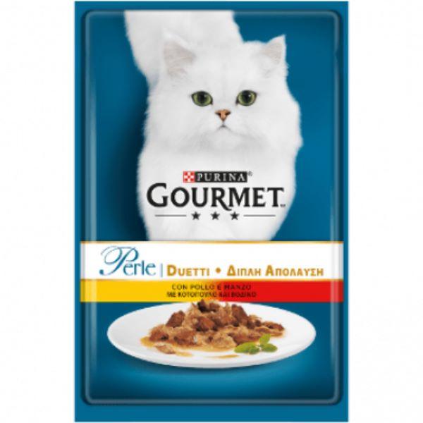 Hrana Pentru Pisici Gourmet® Pеrle Mini Fileuri In Sos Cu Pui Si Vita 85Gr.