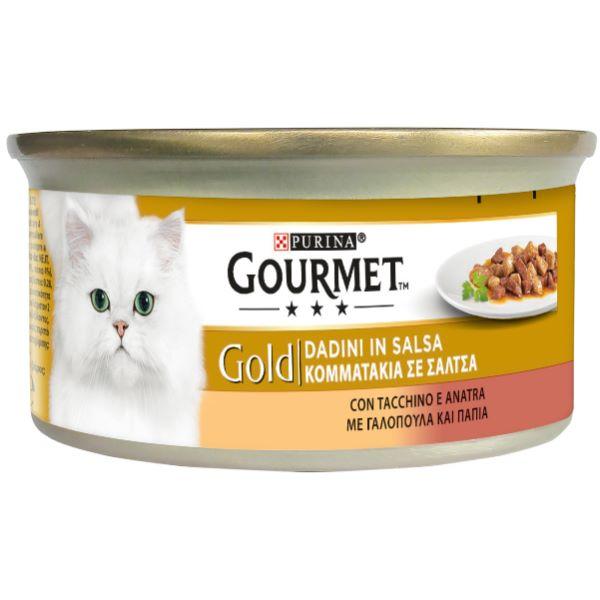 Hrana Pentru Pisici Gourmet® Gold Bucatele In Sos Cu Curcan Si Rata 85Gr.
