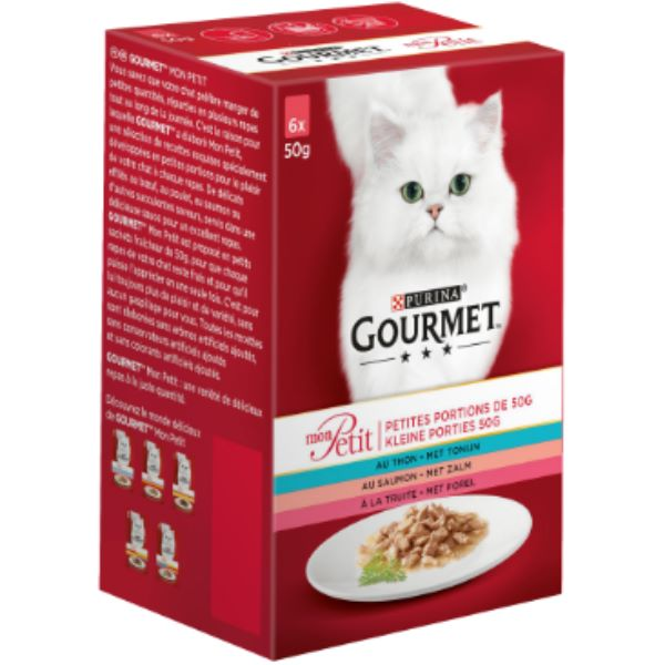 Hrana Pentru Pisici Gourmet® Mon Petit Cu Somon, Ton Si Pastrav, 6 Х 50Gr.