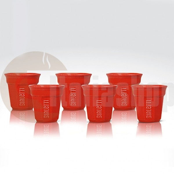 Bialetti pahare din ceramica pentru cafea culoare rosu,6 bucati