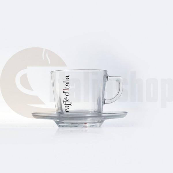 Caffe Ditalia Set Cești Cappuccino Din Sticlă