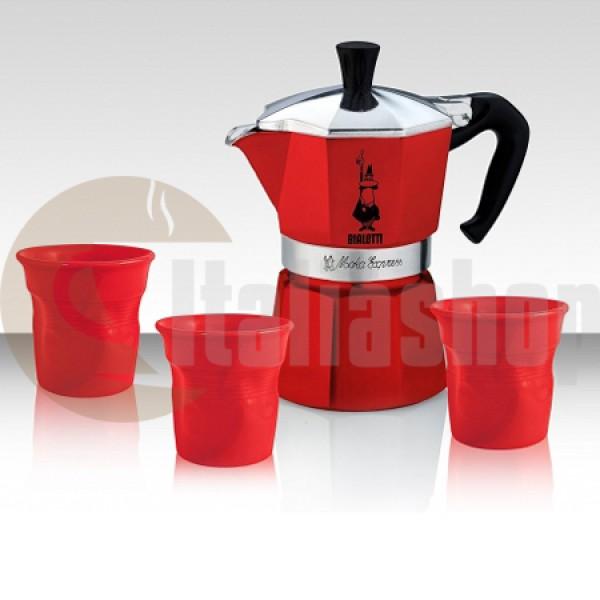 Bialetti Moka Express Set pentru 3 cești cu 3 cești limitate în culoare roșu