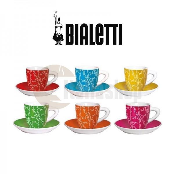 Bialetti set 6 cești și farfurioare diferite culori 1241