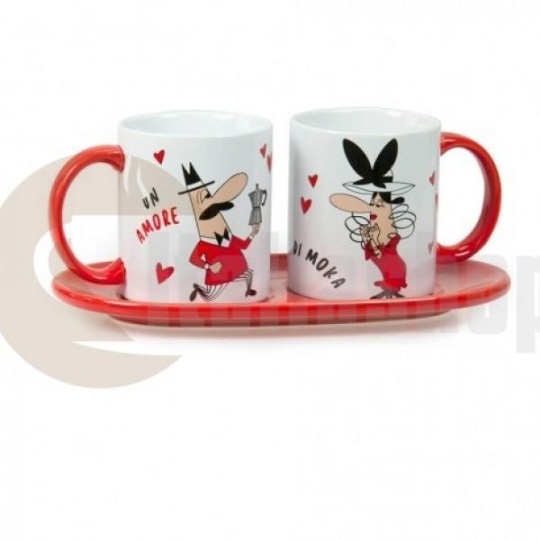 Bialetti Set 2 Mug 3488  două cești cu o tavă